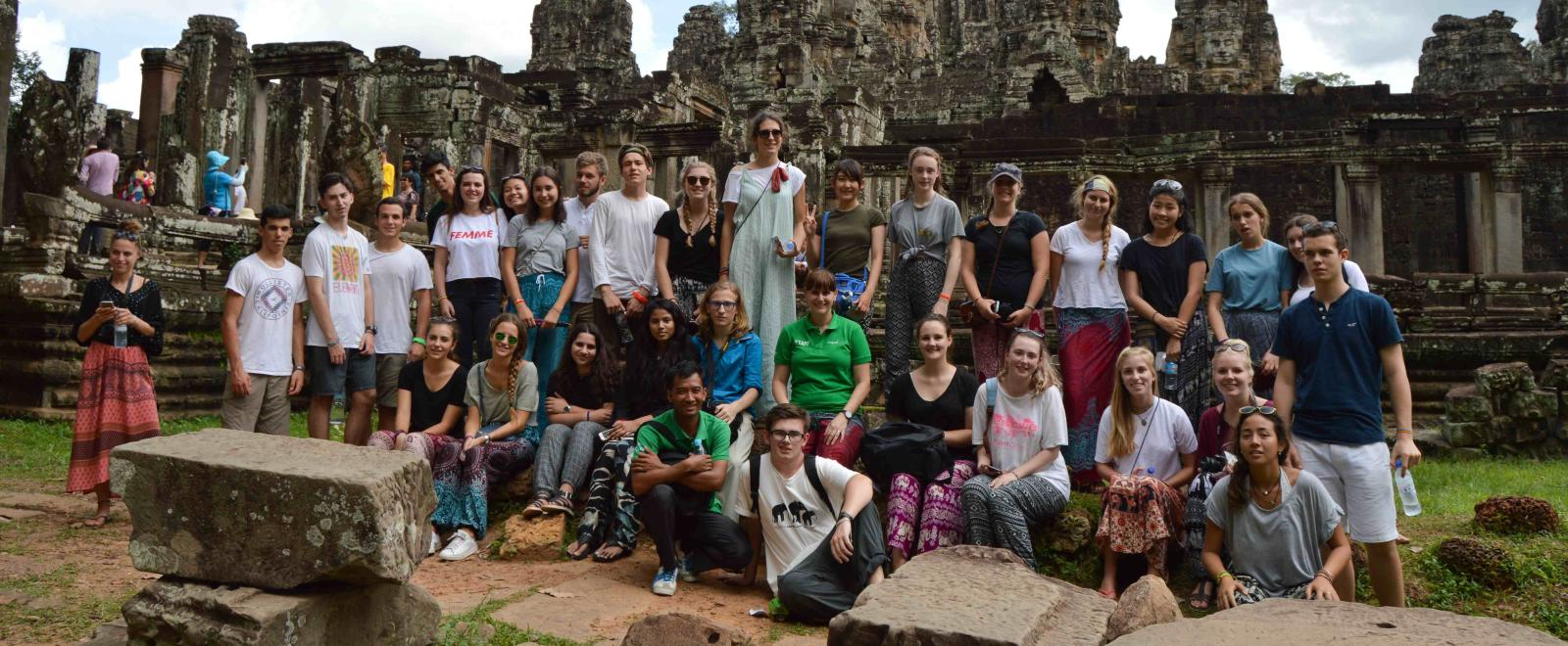 Projects Abroad staff take High School Special volunteers to Bayon Temple in Cambodia